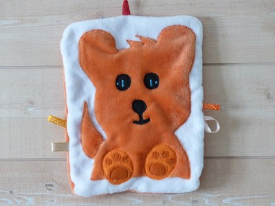 Doudou chien 'collection Indra' orange/blanc